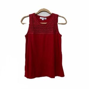 Loft Red Relaxed Fit Crochet Detail Tank Top